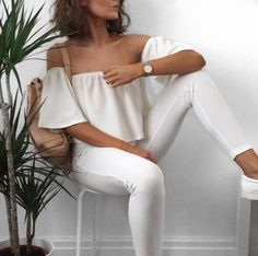Trendy Off-The-Shoulder Pure Color Blouse For Women