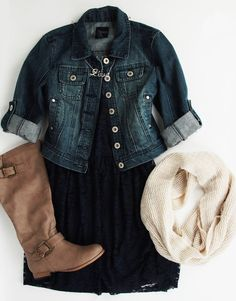 Black lace dress, jean jacket, brown boots and scarf.