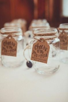 Rustic wedding favor idea - mason jar wedding favors with kraft paper tags with modern calligraphy {Elisavet Photography} jar wedding favors Ashley and Reese's Wedding in Columbia Station, Ohio Mason Jar Wedding Favors, Creative Wedding Favors, Inexpensive Wedding Favors, Elegant Wedding Favors, Cheap Favors, Wedding Favors For Guests, Diy Wedding, Wedding Ideas, Wedding Rustic