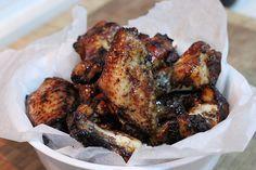Alitas de pollo con miel y soja
