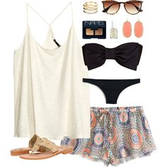 """beach day"" by classically-preppy on Polyvore print shorts bikini white black"