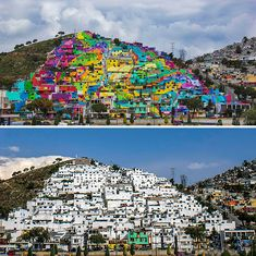 The Whole Town Gets Repainted In Vibrant Graffiti, Palmitas, Mexico (before-after-street-art-boring-wall-transformation). Murals Street Art, Land Art, Art Du Monde, Empty Canvas, Art Gallery, Grafiti, Beautiful Streets, Building Art, Street Artists