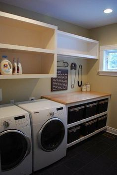 Make the most of a small laundry room with custom storage solutions and a dedicated folding area by carpenter William Larue.