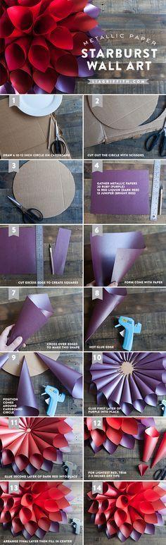 Easy DIY Wall Art tutorial - Colorful Starburst DIY Paper Flowers