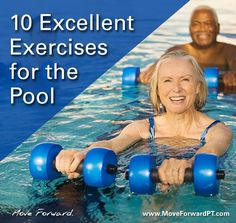 Pool (aquatic) exercise provides many benefits, including an ideal environment to exercise throughout the year. Pool (aquatic) exercise provides many benefits, including an ideal environment to exercise throughout the year. Water Aerobic Exercises, Swimming Pool Exercises, Pool Workout, Exercise Moves, Water Workouts, Swim Workouts, Workout Abs, Fitness Exercises, Fitness Senior