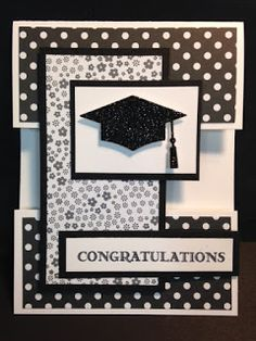 "A Guy Greetings Graduation Card - - Today I was still playing with the ""Open Panel"" Technique. It's so fun and it's a great way to use up the smaller pieces of decorative pa. Graduation Cards Handmade, Greeting Cards Handmade, Graduation Greetings, Graduation Gifts, Congratulations Card Graduation, Cricut Cards, Stampin Up Cards, Card Sketches, Creative Cards"