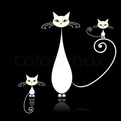 Vector of 'Family cats, mother with children, white cat with green eyes on black'
