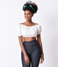 1940s Style White Cap Sleeve Arabella Cotton Peasant Crop Top