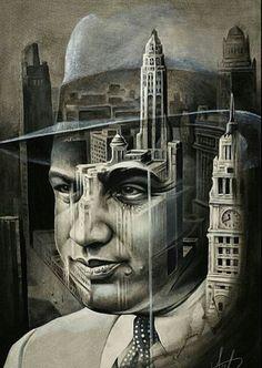 Capone/chicago skyline painting i did awhile back. If you like the piece and would like to wear it put it on a shirt and it turned out awesome! Mob Tattoo, Tattoo Mafia, Sleeve Tattoos, Chicago Skyline Tattoo, Tattoo Studio, Arlo Dicristina, Gangster Tattoos, Skyline Painting, Al Capone