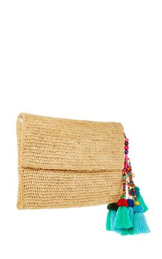 This **Heidi Wynne** Edgartown Raffia Clutch feateures an envelope design in raffia as well as a detachable colorful beads and tassels detailing.