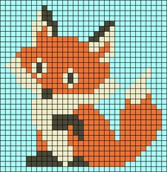 patterns with beads Baby Strickmuster Fox Perler Perlenmuster . Baby Knitting Patterns, Knitting Charts, Baby Patterns, Loom Patterns, Mosaic Patterns, Painting Patterns, Loom Knitting, Crochet Patterns, Quilt Patterns