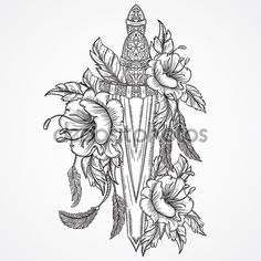 Medieval Sword Flowers Leaves And Feathers. Vintage Floral ...