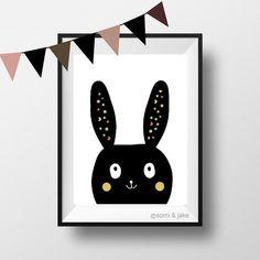 Bunny Nursery Print Kids Room Decor Printable Black by somiandjake