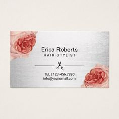 Hair Stylist Vintage Floral Silver Appointment Business Card - modern style idea design custom idea