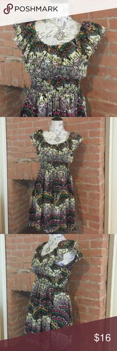 Garden Dress w/ Ruffle Neckline NWOT.  Such a sweet little dress.  💐 This beautiful, multi-colored dress features a ruffle along the neckline and a flattering/cinching waistline.  It falls a couple inches above the knees. Forever 21 Dresses Midi