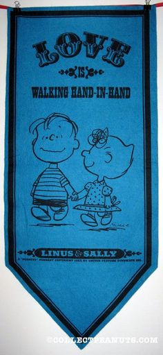 """Linus and Sally """"Love is walking hand in hand"""" Peanuts Pennant"""