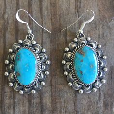 53fbdcccb Native American Indian handmade product Genuine Turquoise Sterling Silver  The Vintage Morenci Turquoise Cab Statement Earrings