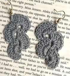 Grey Crochet Earrings They are lightweight and delicate, adding that perfectly elegant touch to any outfit. Size : 4 x 7cm Items ship from Hong Kong to worldwide within 3-5 days using Hong Kong Post.