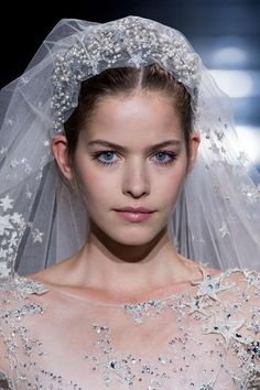 Beauty at Zuhair Murad Haute Couture Fall 2015 Wedding Dress With Veil, Wedding Veils, Wedding Dress Styles, Wedding Attire, Bridal Veils, Bridal Headdress, Bride Hair Accessories, Bridal Outfits, Bride Hairstyles