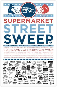 Supermarket Street Sweep - The 7th annual Supermarket Street Sweep taking place on 1st Dec, in down town San Francisco. Its for a great cause, so make sure you head along and take part, or just lend your support.    Check out the events page for more info -https://www.facebook.com/supermarketstreetsweep