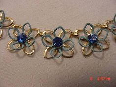 Vintage Blue Enamel Painted Flower Blossoms With Blue