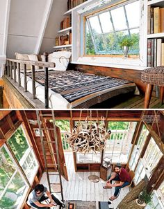 Three-Story Tree House | Branches from the tree extend up into the living space to form side tables. Whitewashed wood floors and lots of salvaged windows give it a bright and airy feel. Handmade lanterns made with mason jars dangle down into the open first floor, along with a rope swing. It's the ultimate cozy and comfortable treehouse getaway, and an ode to the spirit of creative reinvention.