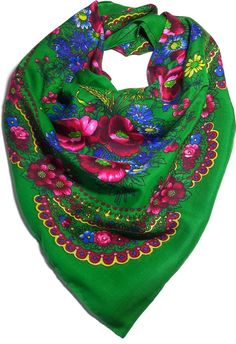 Folk head scarves with delicate floral folk patterns from Lowicz or Highlander region have been popular in Poland for many centuries. Formely, the scarves formed an integral part of the women's folk c