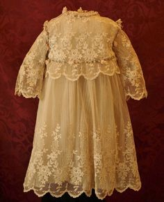 Gorgeous Antique Broderie Anglaise Tulle Dress Bonnet from patsyanndolls on Ruby Lane Scary Baby Costume, Tulle Dress, Lace Dress, Baby Christening Gowns, Linens And Lace, Heirloom Sewing, Historical Clothing, Ruby Lane, Antique Dolls