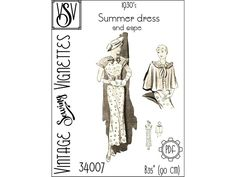 1930's Summer dress and cape B90 cm 35 PDF | Etsy