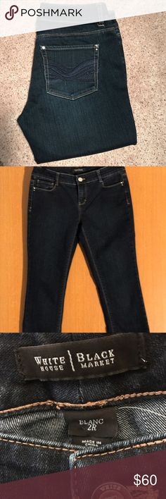 Jeans WHITE HOUSE BLACK MARKET dark wash jeans Size 2R worn once or twice... too big and long for me very flattering on... did get many compliments when I did wear them... White House Black Market Jeans Straight Leg