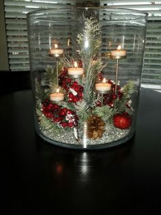 ADVENT Majestic Hearth ready for the holidays. Tealights are from Party Lite. Christmas Vases, Gold Christmas Decorations, Christmas Crafts, Holiday Decor, Vase With Lights, Tea Lights, Homemade Christmas, Party, Decorating