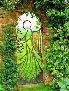Angel Gate surrounded by trellis of honeysuckle - Divine. Angel Gate surrounded by trellis of honeys Garden Doors, Garden Gates, Christmas Garden, Fence Gate, Fences, Iron Gates, My Secret Garden, Dream Garden, Yard Art