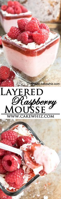 This fresh RASPBERRY MOUSSE is so smooth and creamy that it just melts in your mouth. Perfect dessert for Summer or even Valentine's Day. Serve it as a layered dessert with brownies, raspberry jam, chocolate shreds and more raspberries {Ad}. From cakewhiz.com