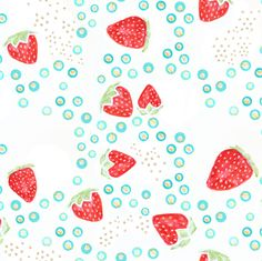 strawberry gold fabric by emilysanford on Spoonflower - custom fabric. So cute for kitchen curtains.