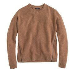 J. Crew Lambswool zip sweater in Hthr Caramel