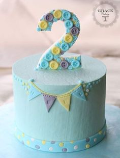 Buttons birthday cake. Blue.