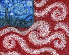 patriotic Painting On Canvas | American Flag No. 2 (Starry American Night)