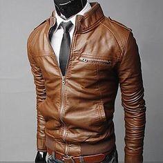 Mænds Stand PU Leather Slim Motorcycle Jacket Coat – EUR € 37.53