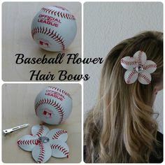 Learn how to make baseball flowers for or flip flops or ponytail holders