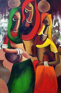 African Art Paintings, Modern Art Paintings, Colorful Paintings, Madhubani Art, Madhubani Painting, Figure Painting, Painting & Drawing, Rajasthani Painting, Art Village