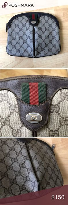 bcbe4c66f Gucci Authentic Sherry Web Clutch Brown Pouch Gucci GG Pouch GG Brown Beige  Measures: Length