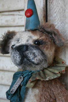 "Brady Bears Studio 11"" English Bulldog. All hand tinted. cotton collar, vintage trims. One of a kind, www.BradyBears.com. Antique // Prim // mohair //"