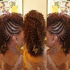 Mohawk sewn in - Curlie Hair Styles - Hairstyles Braided Mohawk Hairstyles, Mohawk Braid, Crochet Braids Hairstyles, African Braids Hairstyles, Twist Hairstyles, Pretty Hairstyles, Curly Mohawk, Black Hairstyles, Protective Hairstyles