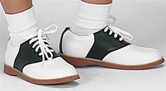 ALL girls wore saddles, but NOT Pink LAdies, Sandy can, Cheerleaders definitely! Shop Saddle Shoes: Black & White, Two Toned, Oxford Shoes