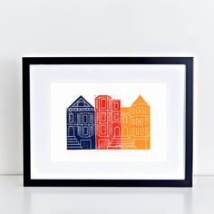 This print was inspired by the unique architecture of San Francisco, home to the famous Painted Ladies. This term refers to the brightly painted Victorian and Edwardian era houses in the city of San F
