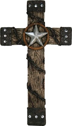 Texas Star Studded Barbed Wire Wall Cross