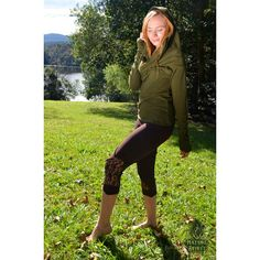 Elf-Arrow Leggings Brown Yoga Leggings Lace Leggings Capri Elven Doof... (44 AUD) ❤ liked on Polyvore featuring green, leggings and women's clothing