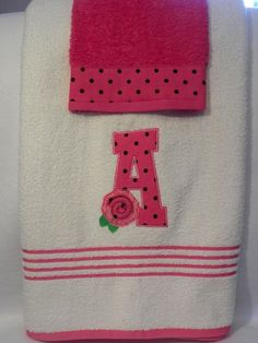 Shabby Rose Applique Towel Set by TLCreativeDesignsToo on Etsy, $26.00