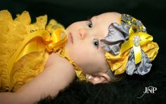 Yellow and Grey Layered Slik and Rosette by OohLaLaGirlyBowtique, $14.99