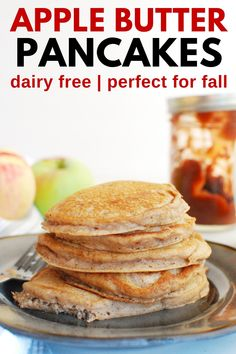 These apple butter pancakes are a delicious fall breakfast recipe! You'll love the sweet and tart flavors of apple butter weaved into these hearty whole wheat pancakes. Fall Breakfast, Breakfast For Kids, Butter Pancakes, Whole Wheat Pancakes, Dairy Free Breakfasts, Apple Butter, Toddler Meals, Delish, Good Food